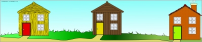 3 Little Pigs home choices- Straw, Wood or Brick